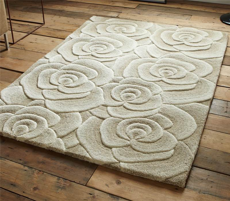 Beige Modern Luxury Wool Rug With Large Flowers Roses