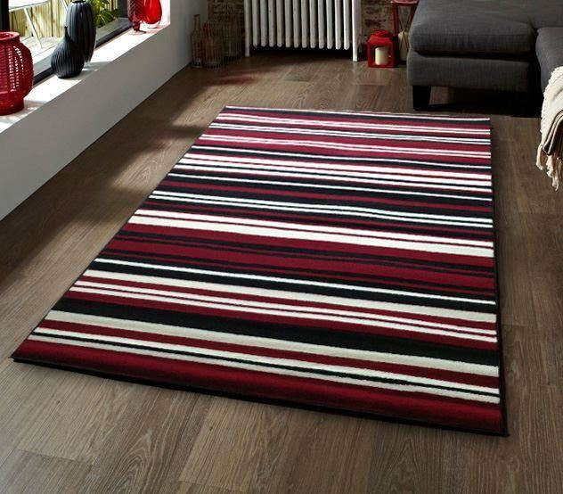 Black And White Rug Ebay Uk: Black Red And White Candy Pin Stripe Modern Budget Design