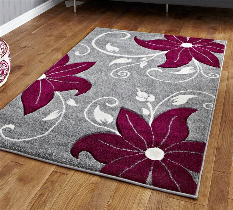 Grey And Purple Rug Stunning Floral Flower Pattern Large