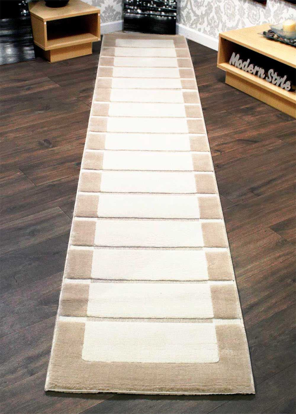 Rrp extra long thick hallway runner rugs chocolate brown beige cream ebay - Extra long carpet runners ...