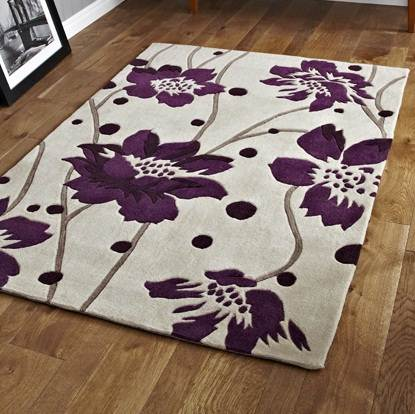 Modern purple aubergine plum colour rugs in large small for Plum and cream rug