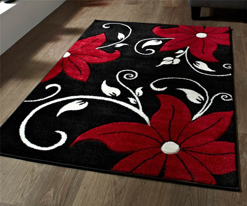 Black-and-Red-Rug-Stunning-Floral-Flower-Pattern-Large-Rug-Heavy-Domestic
