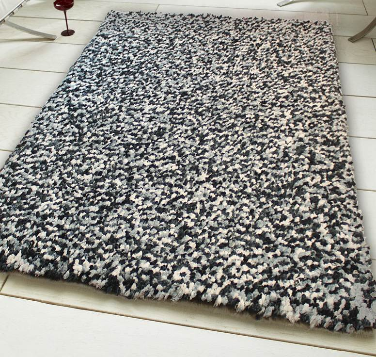 Black And White Rug Ebay Uk: Black White Shaggy Rug, Super Soft Thick Pile Modern Heavy
