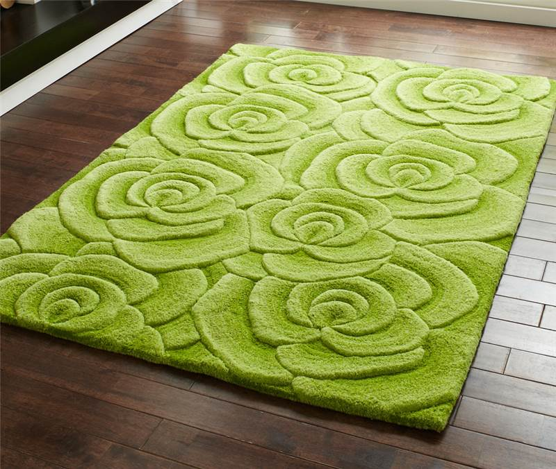 Green Modern Luxury Wool Rug With Large Flowers Roses