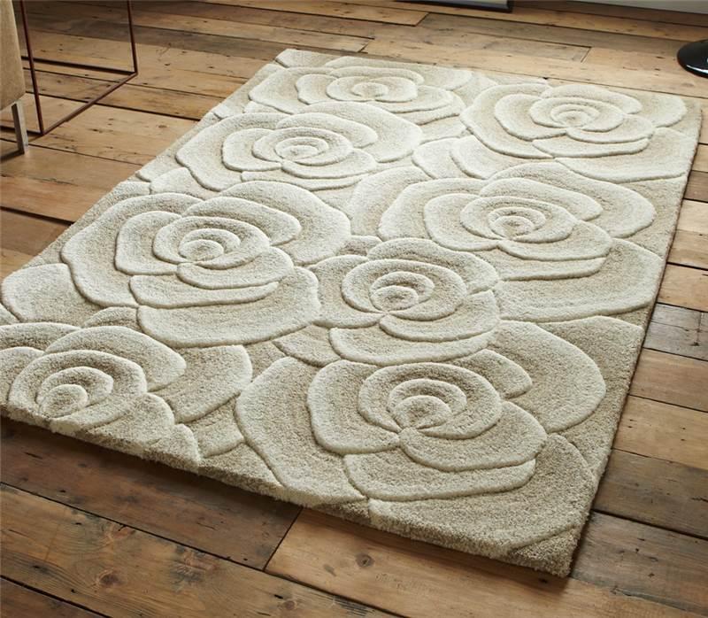 Beige moderno lana di lusso tappeto con grande fiori rose - Tappeti damascati ...
