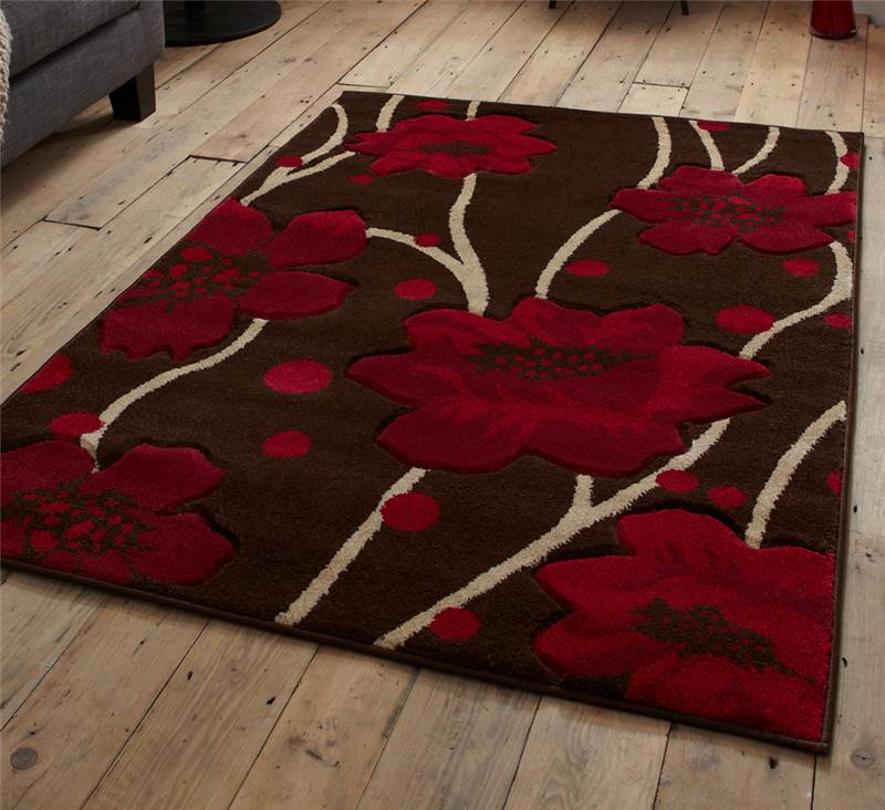 Brown And Red Rug Stunning Fl Flower Pattern