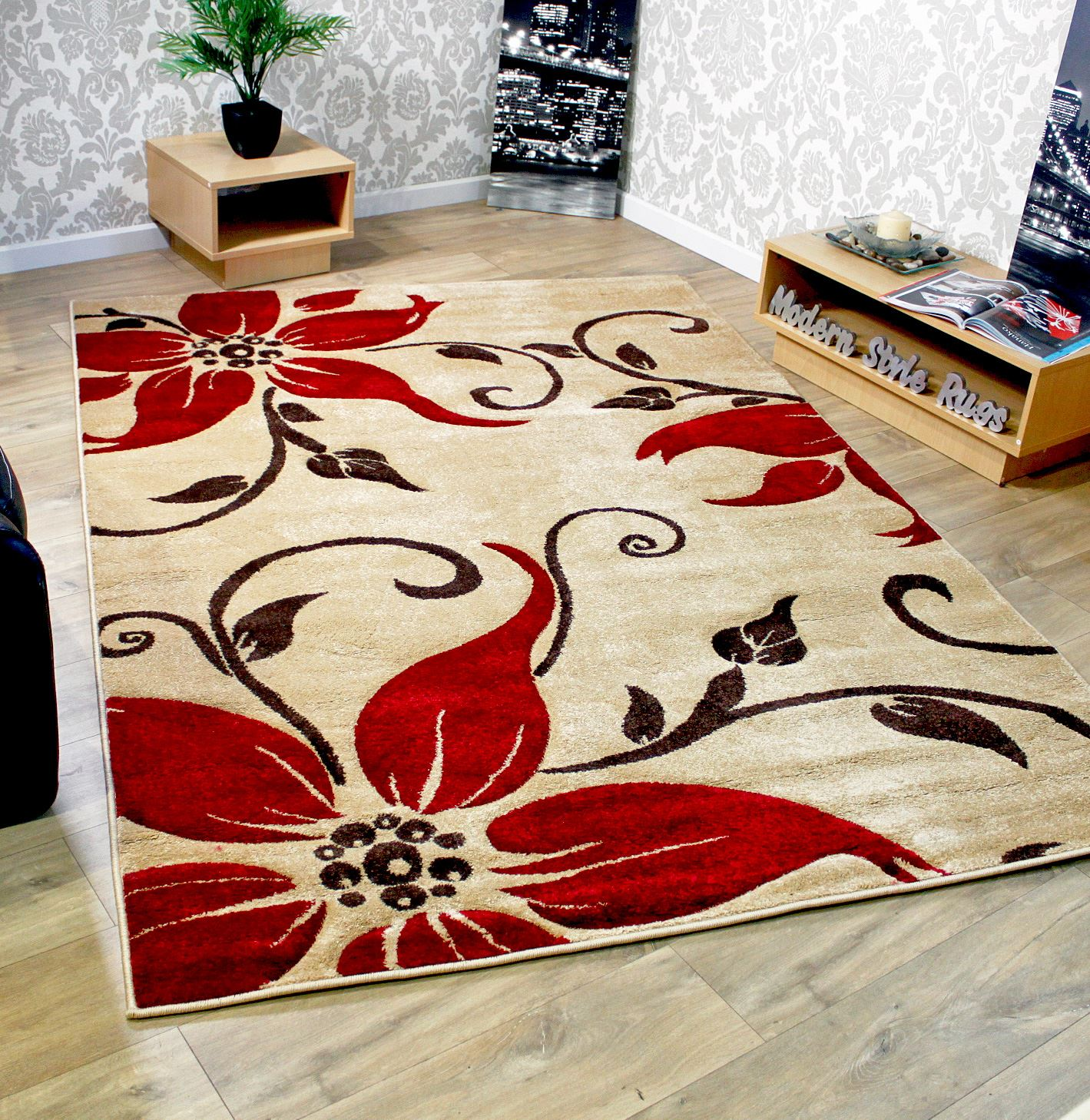 fleur motif tapis rouge noir vert beige marron violet cr me moderne lagre tailles ebay. Black Bedroom Furniture Sets. Home Design Ideas