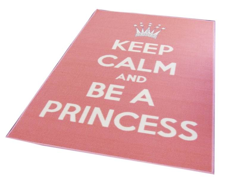 Pink-Keep-Calm-Text-Rug-Matrix-Themes-Be-A-Princess-Style-Design-in-Nylon-Pile