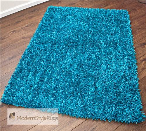 Thick Luxury Electric Blue Rug High Shine Striking Style