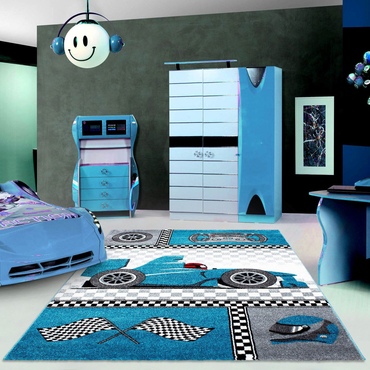 details about kids childrens soft quality bedroom blue pink car rugs