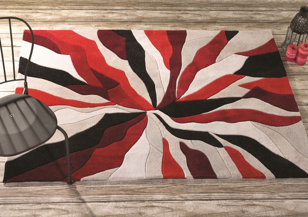 Red Modern Design With Beige Cream Background Handtufted Select From 3 Sizes