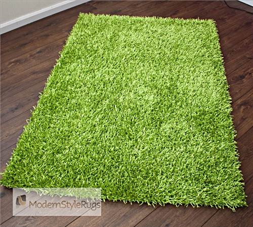 Lime Green Overdyed Rug: Thick Luxury Lime Green Rug High Shine Striking New Style