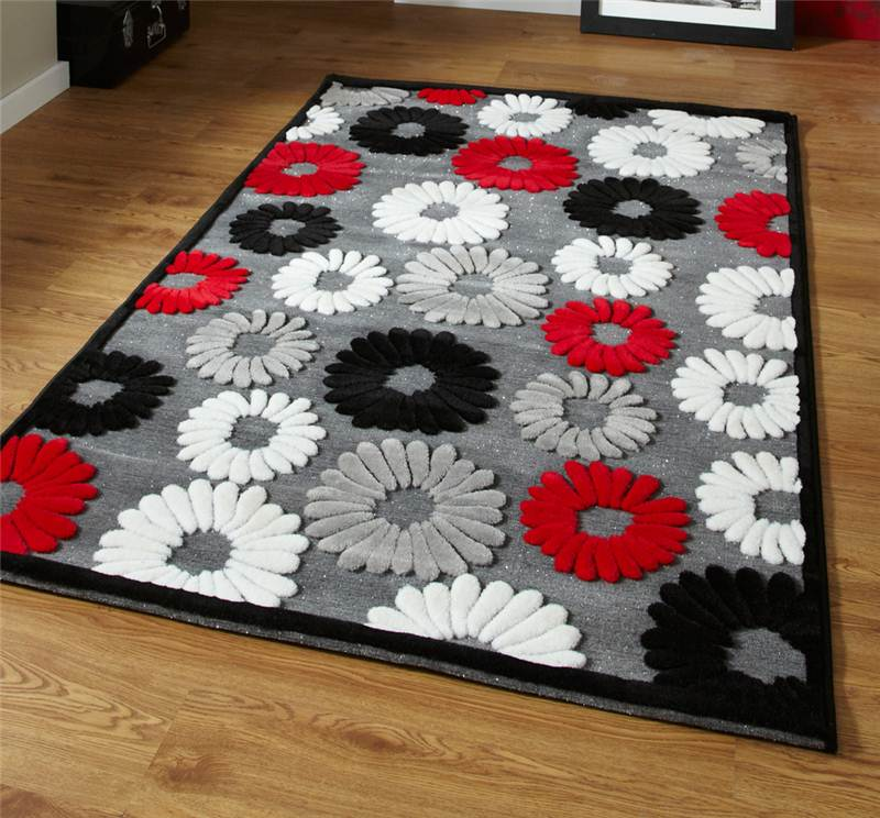 black red and grey flower rug very modern pattern design in 2 sizes sold cheap ebay. Black Bedroom Furniture Sets. Home Design Ideas