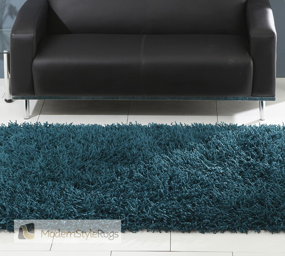 Embassy Plain Teal Rug Very Long Thick Polyester Pile
