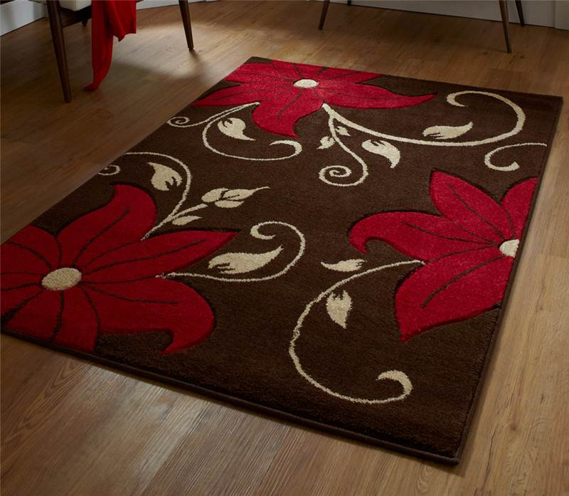 Elegant Domestic Rug Beige Red Black Purple Modern Flower