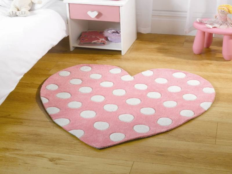 Pink & White Rug Kiddy Play Polka Heart Cut & Style in 100% Polyester Pile