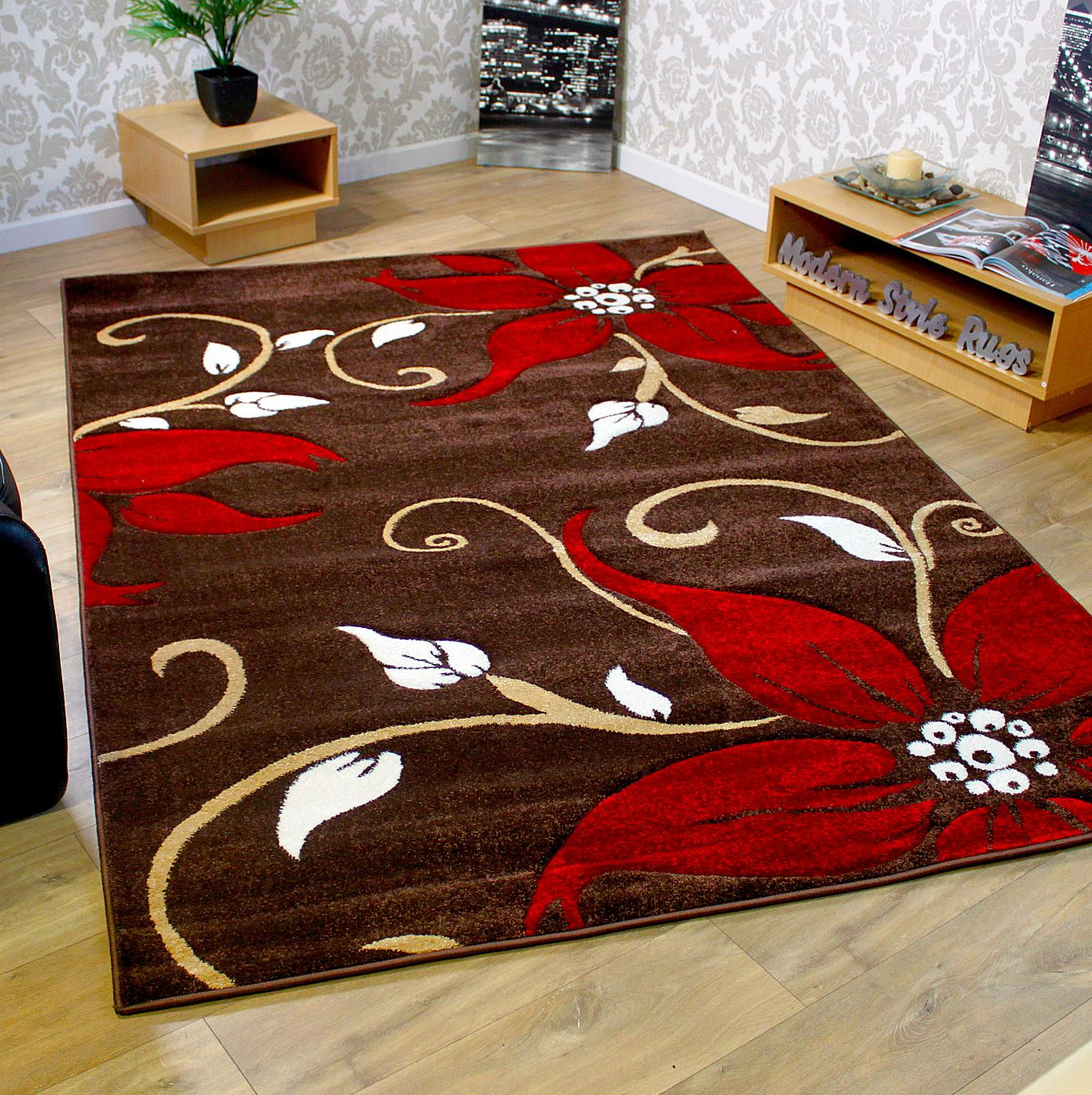 Flower pattern rug red black green beige brown purple for Cream and red rugs