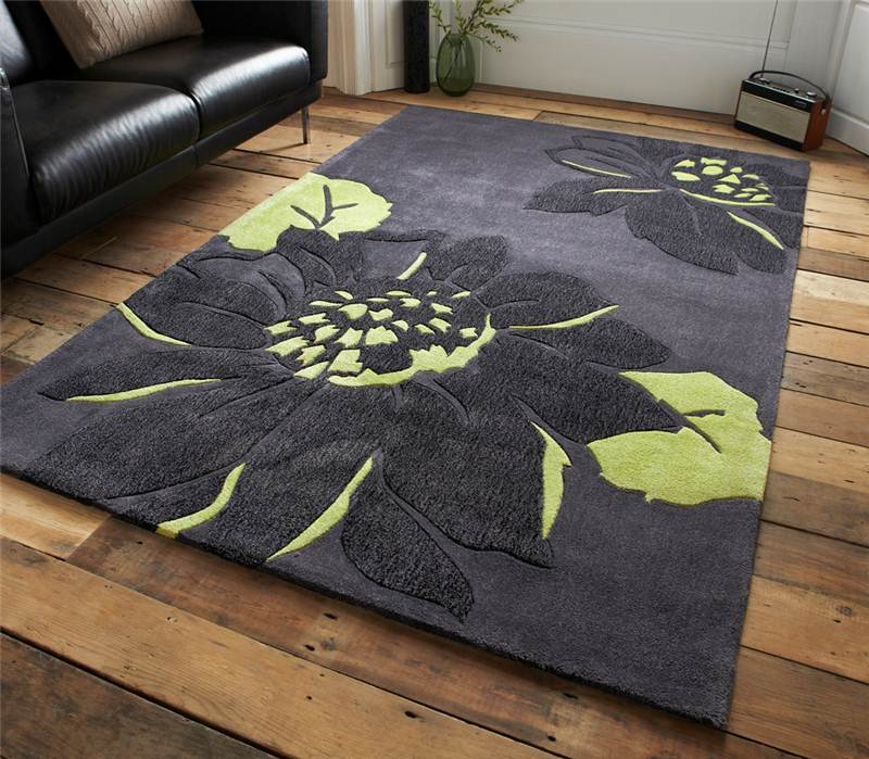 Modern 100 Hard Wearing Polyester Rug With Grey Green