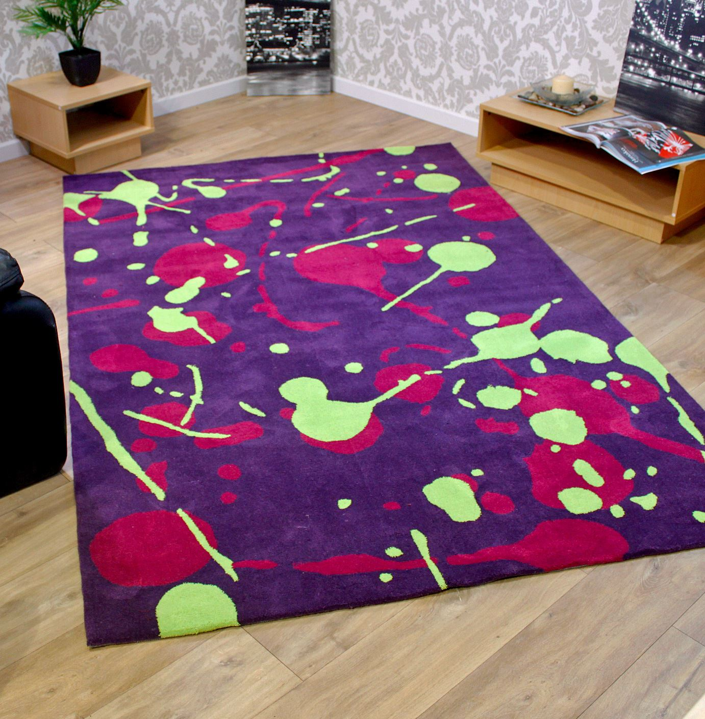 Modern Designer Luxury Purple Green Large Soft Touch Rug