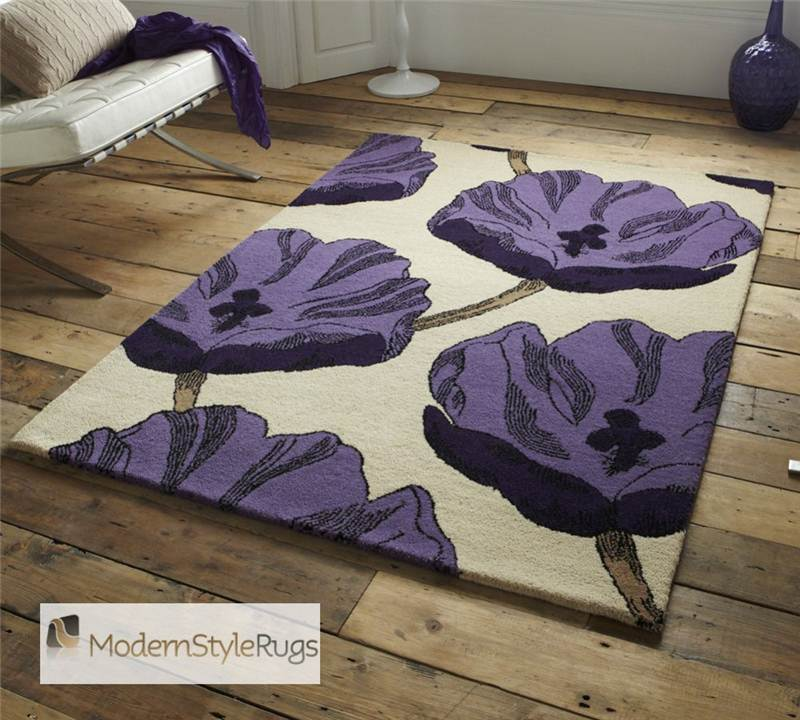 Purple Canvas Rug: Beige And Purple Rug Elements 100% Wool With Graphic