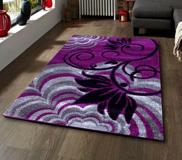 Dark Purple Rugs: Purple Blackgropund With Grey Silver And Black Flower