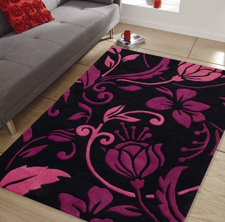 Damask Black Purple Pink Quality Modern Contemporary