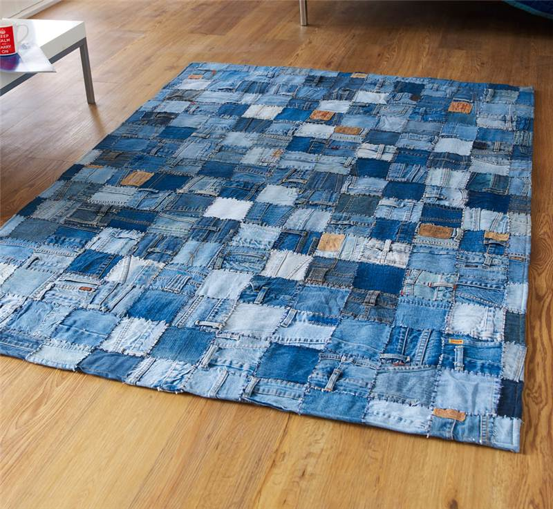 Made From 100 Denim Jeans This Super Modern Blue Rug Is