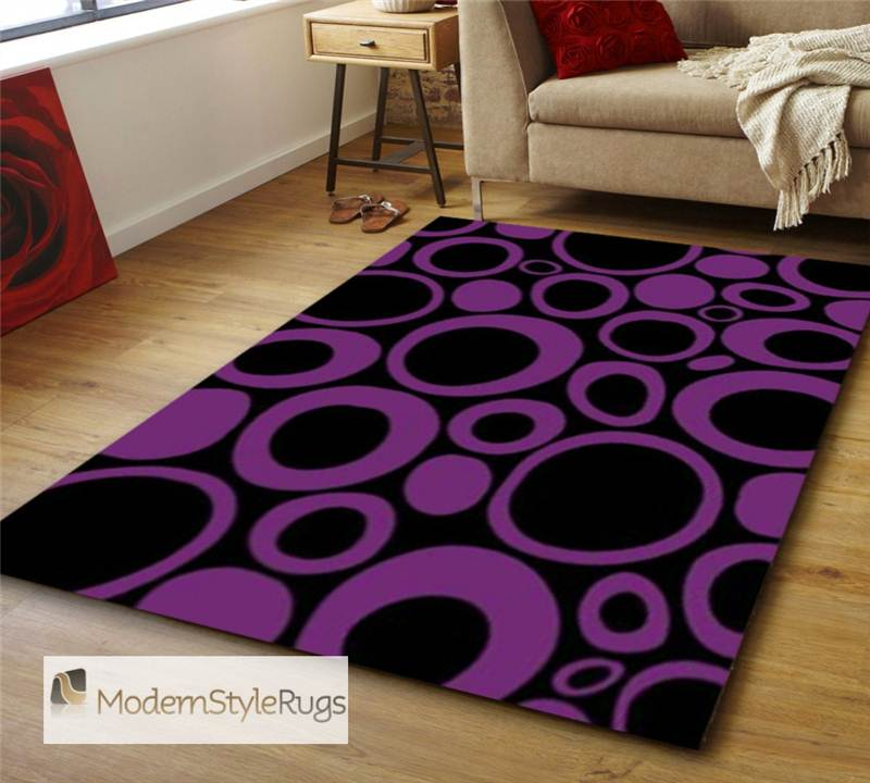 Black And Purple Rug Moda In Hand Carved Polypropelene