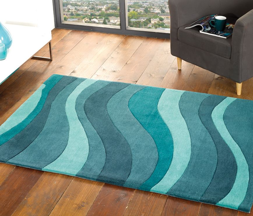 Teal Blue Swirl Curve Wavey Pattern Soft Touch Acrylic Rug