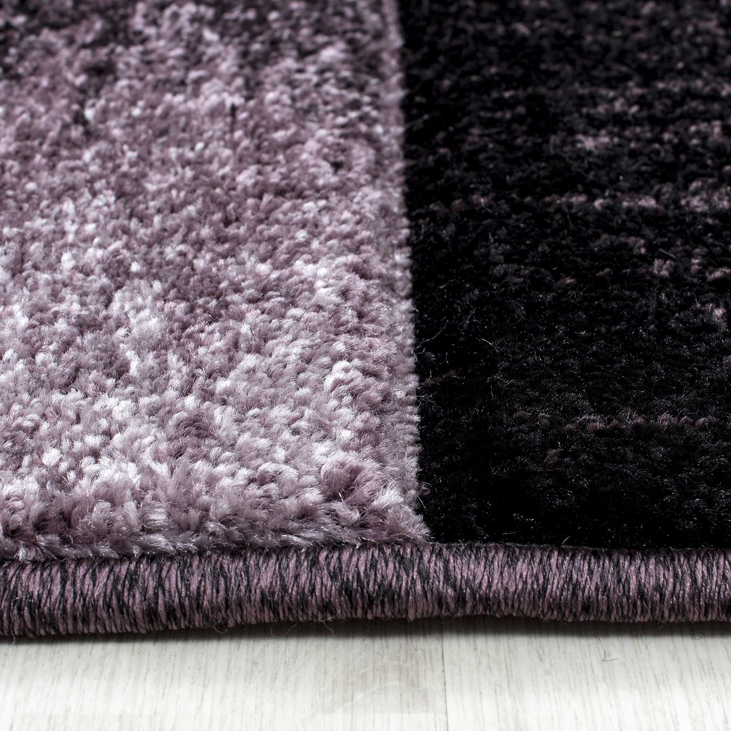 Purple Rug: Modern Contemporary Black Grey Brown Purple Grey Swirls
