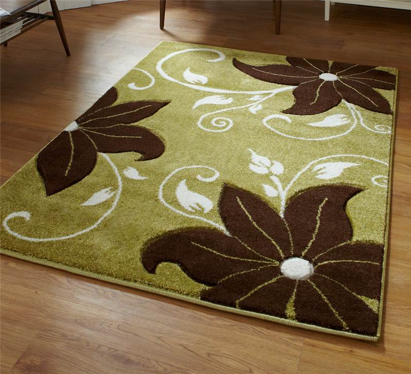 Green Rug Brown Sofa: Green And Brown Rug Stunning Floral Flower Pattern Large