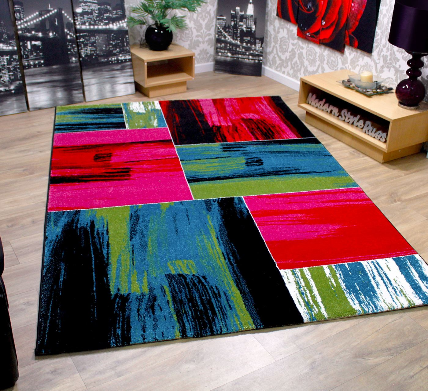 Modern Square Pattern Contemporary Designer Rugs Black Red