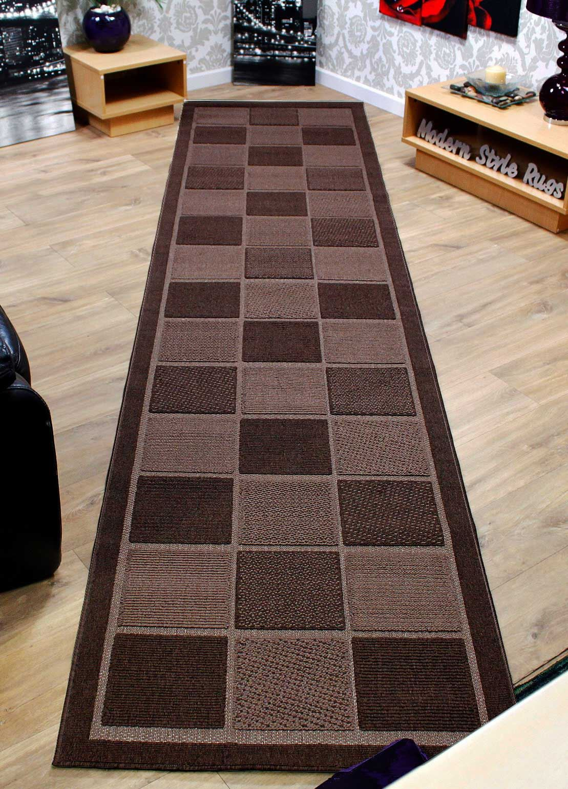 Checkered brown or cream extra long extra wide for Runners carpets and rugs