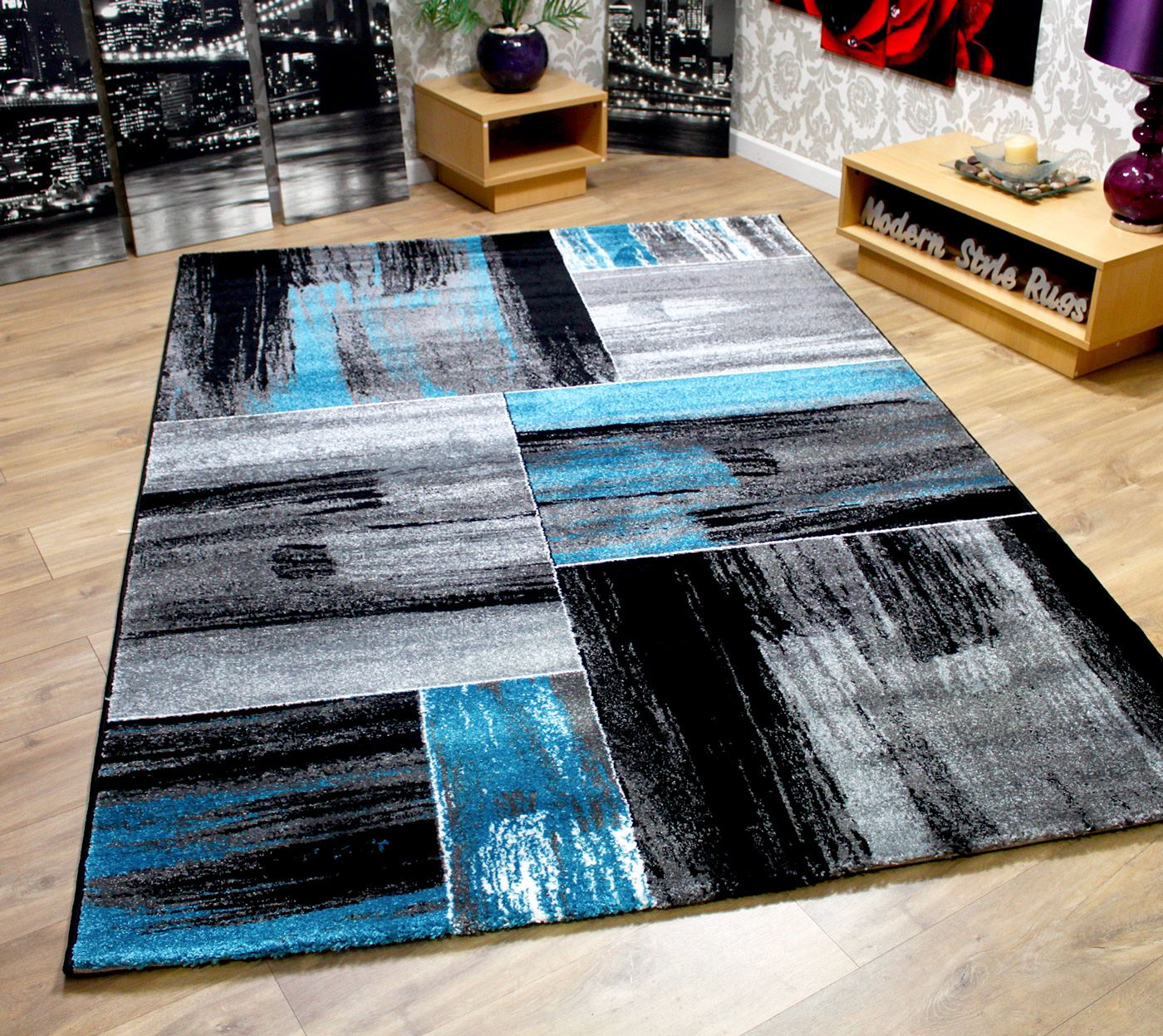modern square pattern contemporary designer rugs black green pink blue brown ebay