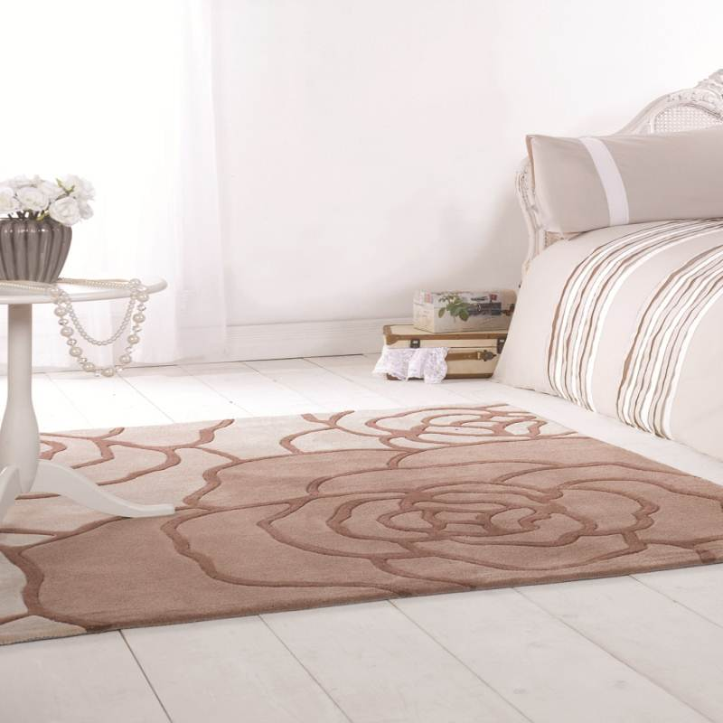 Beige Rug Infinite Petal Stylish Tonal Roses Design 100