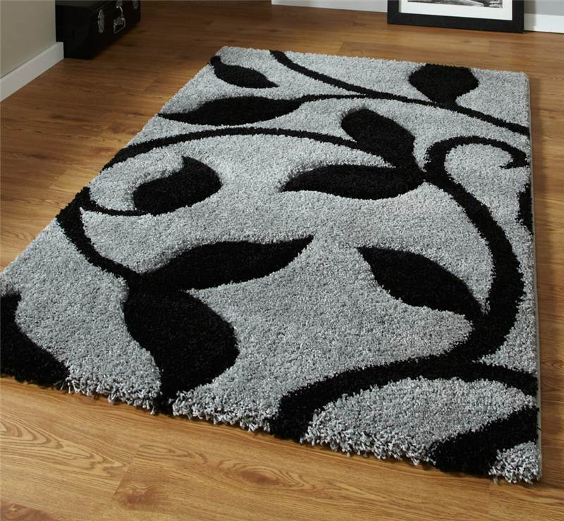Black And White Rug Ebay Uk: Grey And Black High Density Thick Pile Hand Carved Shaggy