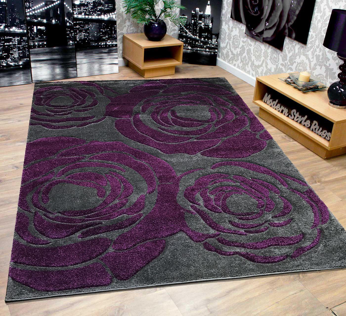 Hobby Lobby Large Area Rugs: Grey & Purple Extra Large Roses Modern Designer Home Floor