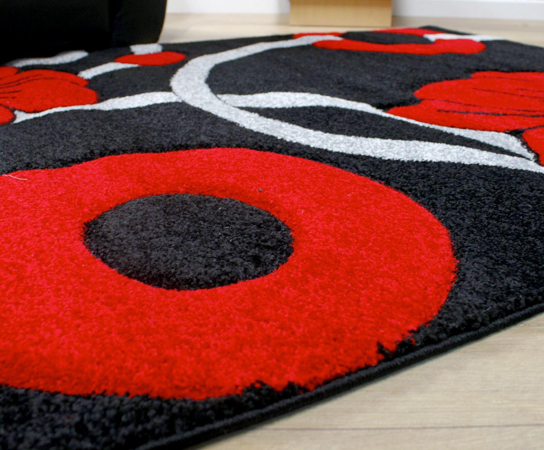noir gris et cercle rouge fleurs motif style moderne tapis 2 tailles grande salle ebay. Black Bedroom Furniture Sets. Home Design Ideas