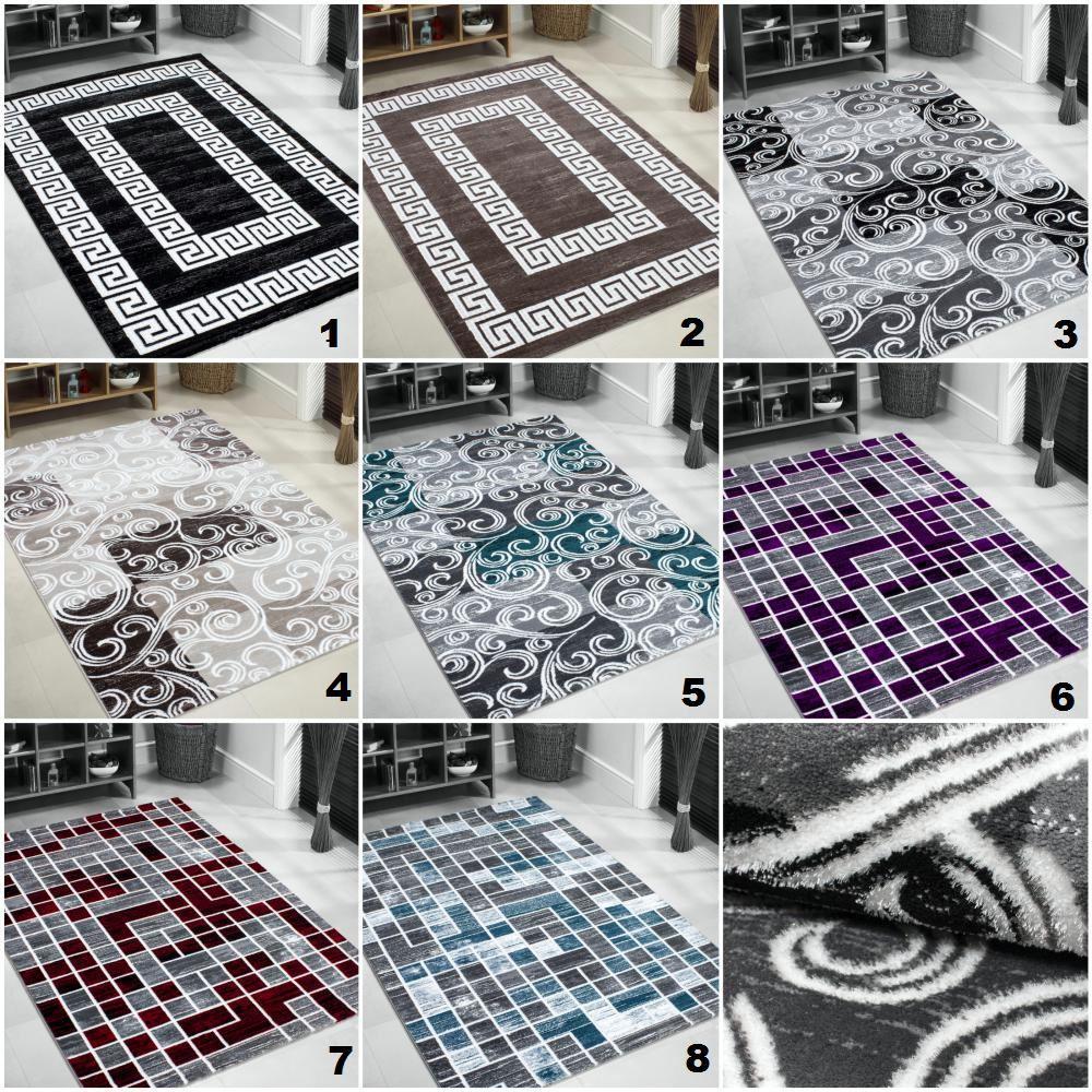 Moderno e contemporaneo quadrate bordo pixel nero grigio - Tappeti damascati ...