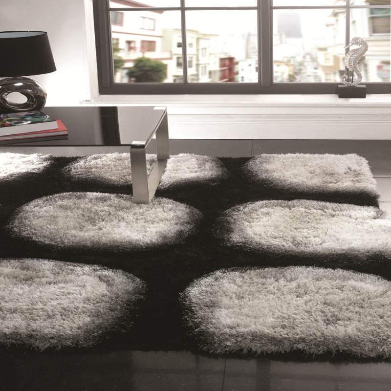 Splendour-Deluxe-Vogue-Black-White-Shaggy-Rug-3D-Effect-in-Silky-Polyester-Pile