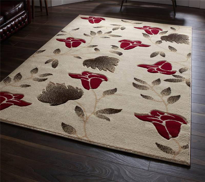 Beige And Red Floral Flower Pattern Modern Rug In Choice