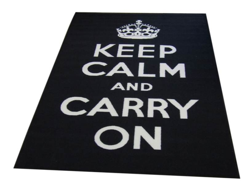 Black-Keep-Calm-Text-Rug-Matrix-Themes-Carry-On-Beautiful-Design-in-Nylon-Pile