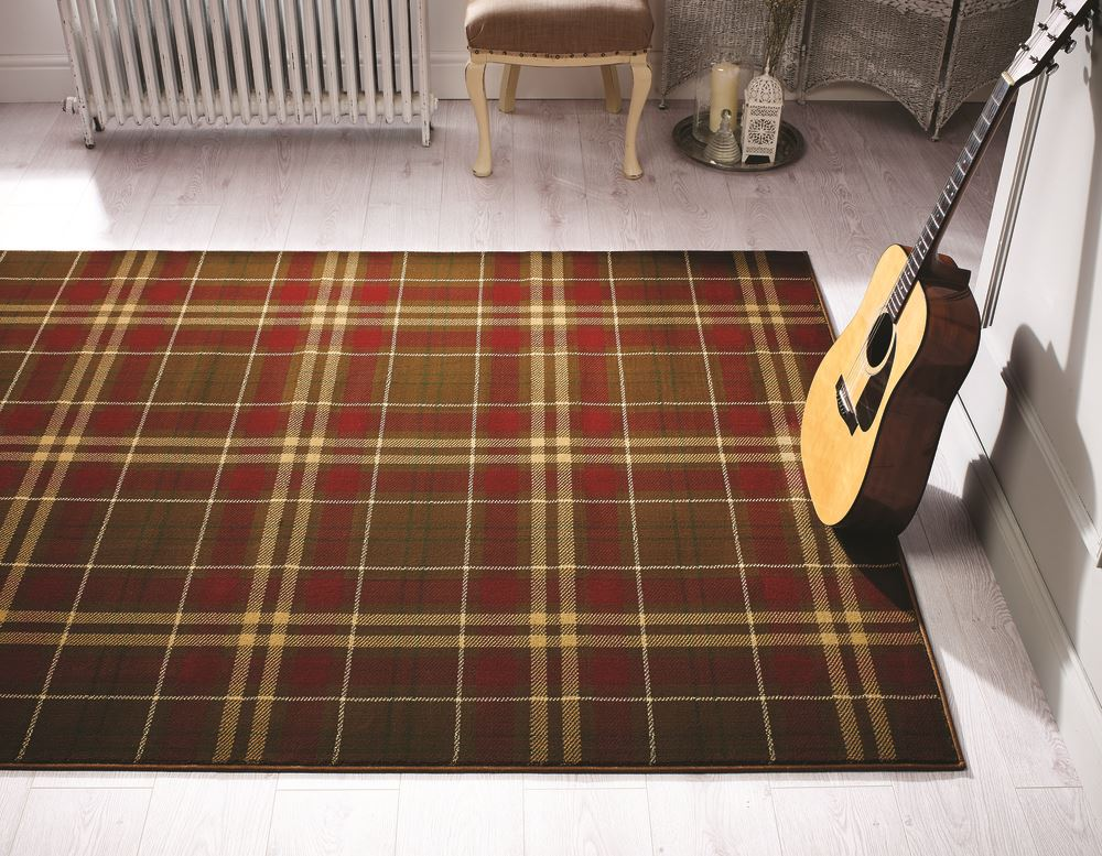 Tartan Hard Wearing Quality Checkered Rug Soft Touch