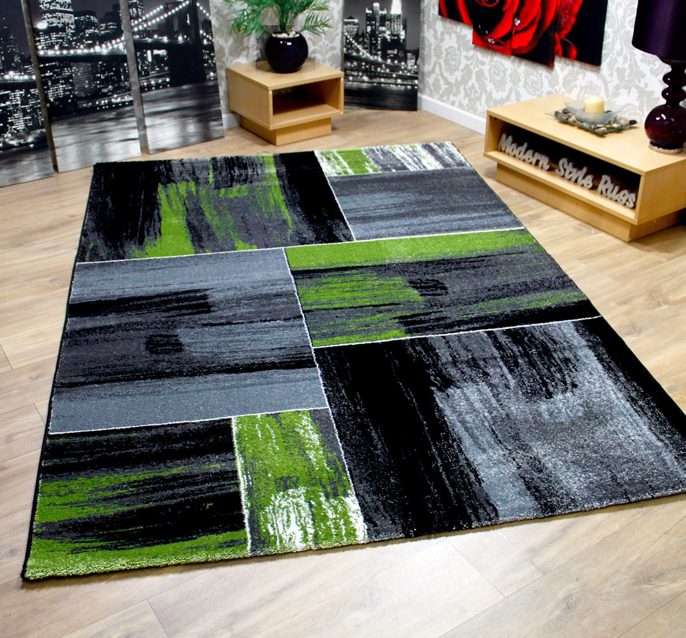 Modern Kitchen Rugs: Modern Square Pattern Contemporary Designer Rugs Black Red