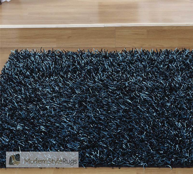 Black & Teal Rug Apollo Designer's Handwoven Shaggy Thick
