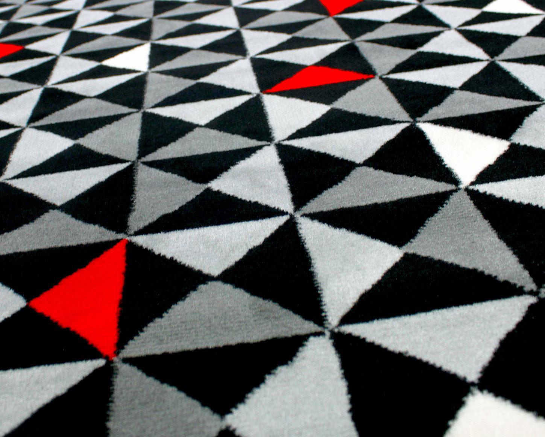 Qualit soft touch modern designs tapis tapis noir rouge - Tapis noir blanc gris ...