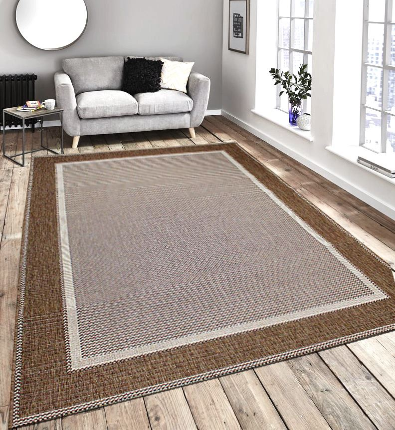 New Flatweave Border Pattern Hardwearing Indoor Outdoor