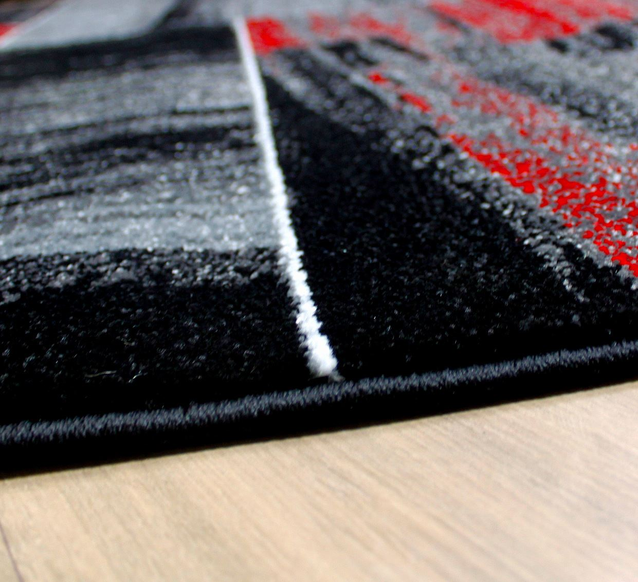 Modern square pattern contemporary designer rugs black red for Modern carpet pattern red
