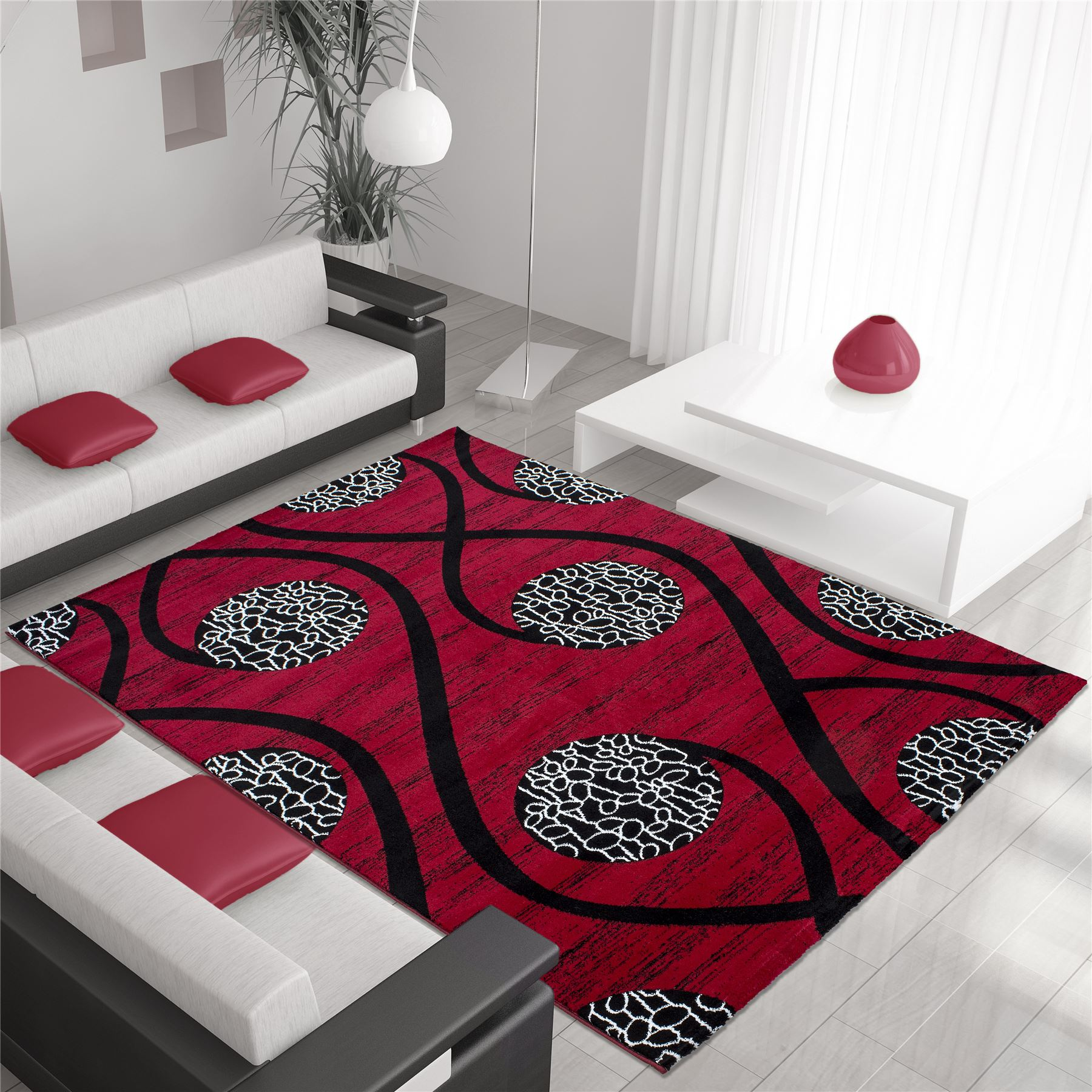 Black And White Extra Large Rug: Modern Contemporary Squares Swirls Black Red Beige Grey