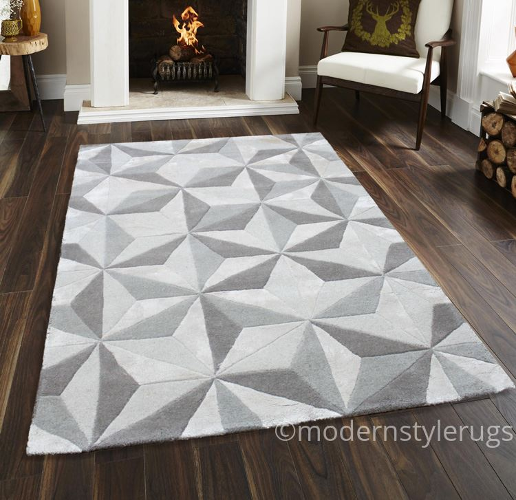 Quality Thick 100 Modern Wool Rugs Diamond Design